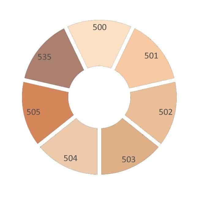 dual matte wear foundation colour wheel